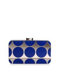 Manolo Blahnik - Mina Royal Blue Shiny Silver Clutch - Lyst