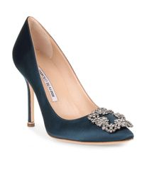 Manolo Blahnik | Blue Hangisi 105 Satin Pump Teal Us | Lyst