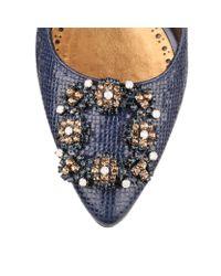 Manolo Blahnik | Blue Hangisi 105 Nappa Embossed Leather Pumps | Lyst