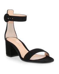 Gianvito Rossi - Black Texas Suede Block Heel Sandals - Lyst