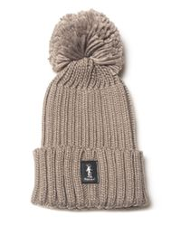 Refrigue - Brown Rib Hat With Pom Poms - Lyst