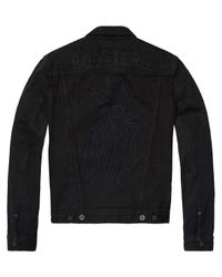 Scotch & Soda - Black Embroidererd Denim Jacket for Men - Lyst