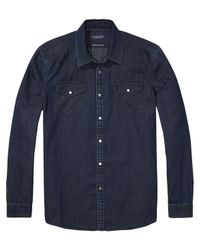 Scotch & Soda - Blue Denim Western Shirt for Men - Lyst