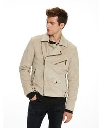 Scotch & Soda - Natural Suede Biker Jacket for Men - Lyst