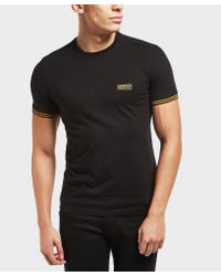 Barbour Black International Cable Tipped Short Sleeve T-shirt for men