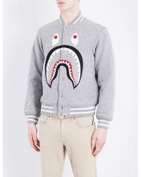 A Bathing Ape | Gray Melton Wool-blend Varsity Jacket for Men | Lyst