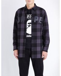 A Bathing Ape | Black Regular-fit Checked Cotton Shirt for Men | Lyst