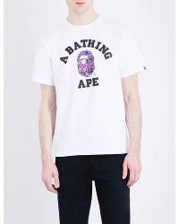 A Bathing Ape | White Ape Cotton T-shirt for Men | Lyst