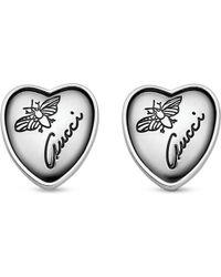 Gucci | Metallic Heart-shaped Sterling Silver Stud Earrings | Lyst