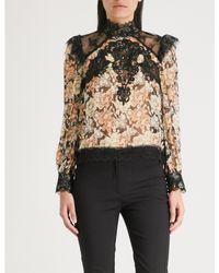The Kooples - Black Wanted-print Floral Silk-blend Top - Lyst
