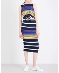 Kendall + Kylie - Blue Striped Waist-tied Jersey Dress - Lyst