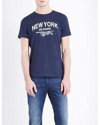 Tommy Hilfiger - Blue Pando Brand Logo Cotton-jersey T-shirt for Men - Lyst