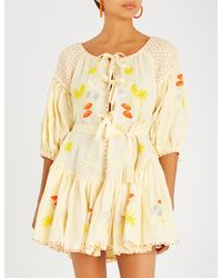 68df28d0f63 Innika Choo Frilled Floral-embroidered Linen Mini Dress in Yellow - Lyst