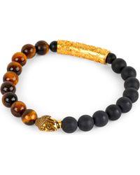 Nialaya - Black 18ct Gold Buddha Beaded Bracelet - Lyst