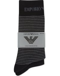 Emporio Armani - Black Plain And Striped Socks 2-pack for Men - Lyst