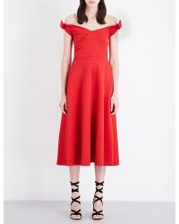 Saloni | Red Ruth Off-the-shoulder Stretch-neoprene Midi Dress | Lyst