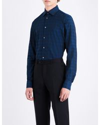 Richard James - Blue Dogtooth-patterned Fitted Cotton Shirt for Men - Lyst