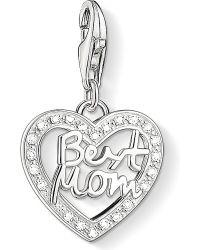 Thomas Sabo   Metallic Charm Club Silver And Zirconia Best Mom Charm Pendant   Lyst