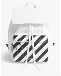 Off-White c/o Virgil Abloh - White And Black Diagonal Stripe Grained Leather Backpack - Lyst