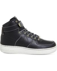 Nike | Black Air Force 1 Lv8 Leather High-top Trainers for Men | Lyst