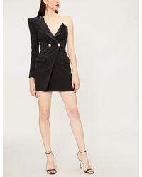 51a1d5564af3 Lyst - Balmain One-shoulder Crepe Mini Dress in Black