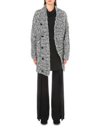 Ann Demeulemeester - Gray Cable Knit Silk-blend Cardigan - Lyst