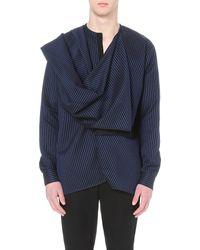 Haider Ackermann - Blue Draped Cotton-blend Shirt for Men - Lyst