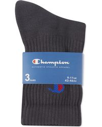 Champion | Gray Crew Socks Pack Of Three for Men | Lyst