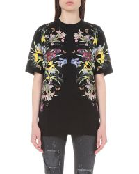 Givenchy | Black Floral-print Cotton-jersey T-shirt | Lyst