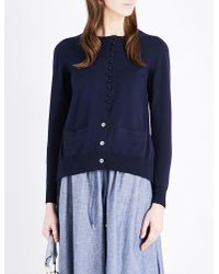 Sacai | Blue Satin-insert Knitted Cardigan | Lyst