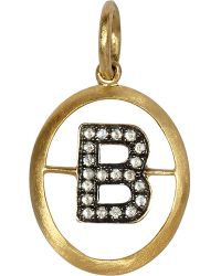 Annoushka - 18ct Yellow Gold And Diamond B Pendant - Lyst