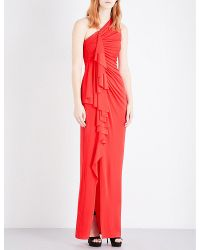 Givenchy | Red Ruched Jersey Asymmetric Gown | Lyst