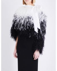 Givenchy | Black Marabou Feather Cropped Jacket | Lyst