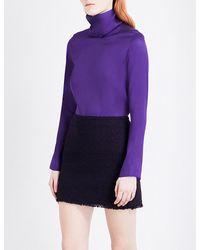 Nina Ricci | Purple High-neck Semi-sheer Silk Top | Lyst