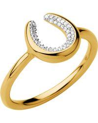 Links of London - Black Ascot Diamond Essentials 18ct Gold Vermeil Horseshoe Ring - Lyst