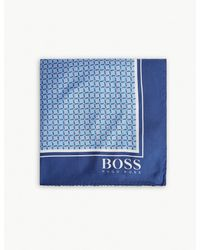 BOSS - Blue Grid Pattern Silk Pocket Square for Men - Lyst