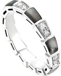 BVLGARI   Metallic Serpenti 18kt White-gold And Diamond Ring   Lyst