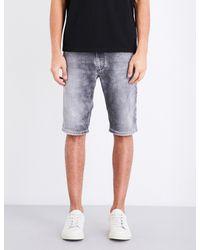 DIESEL - Blue Kroshort-ne 0855b Stretch-denim Shorts for Men - Lyst