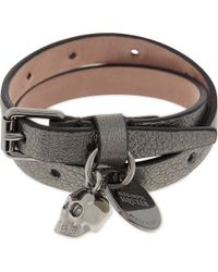 Alexander McQueen - Multicolor Skull Leather Double Wrap Bracelet - Lyst