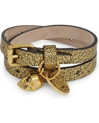 Alexander McQueen | Skull Metallic Leather Double-wrap Bracelet | Lyst