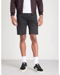 Stone Island - Black Logo-patch Stretch-cotton Shorts for Men - Lyst