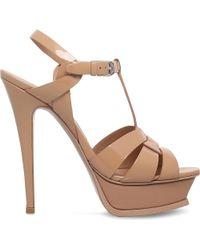 Saint Laurent | Pink Tribute 105 Patent-leather Platform Sandals | Lyst