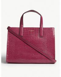 Kurt Geiger - Multicolor Fuchsia Pink Crocodile Embossed Leather Tote Bag - Lyst