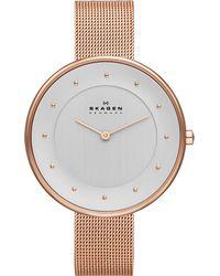 Skagen - Metallic Skw2142 Gitte Rose Gold-toned Stainless Steel Bracelet - Lyst