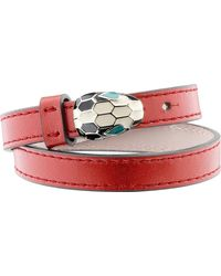BVLGARI | Red Serpenti Forever Special Edition Leather Bracelet | Lyst