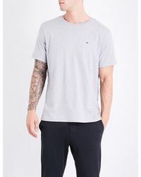 Tommy Hilfiger | Gray Logo-embroidered Cotton-jersey T-shirt for Men | Lyst