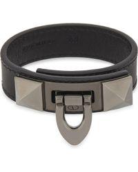 Valentino - Black Demi-moon Lock Leather Bracelet for Men - Lyst