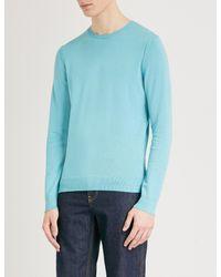 BOSS Orange - Blue Crewneck Cotton-blend Jumper for Men - Lyst