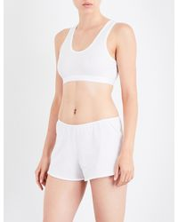 Sunspel | Ladies White Cropped Classic Racerback Stretch-cotton Top | Lyst