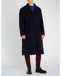 Loewe - Blue Contrast Check-panel Wool-blend Coat for Men - Lyst